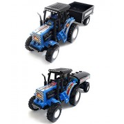 Combo Toys of Tractor with Trolley and Tractor with Tanker | Toy for Kids | Show Piece | Miniature/Model Tractor |Pull Back and Go | Blue and Blue Color| Set of 2 Tractors - Value Pack