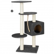 [en.casa]® Rascador para gatos árbol para trepar y arañar sisal con juguetes- 40x40x113cm - gris