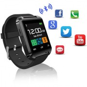 TINY DEAL U8 WEARABLE 1.45QUOT TOUCH SCREEN SMART BLUETOOTH WATCH WITH PEDOMETER /BAROMETER /ALTIMETER /STOPWATCH - BLACK