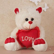 Cute 15 Inch White Teddy Bear holding red LOVE Heart