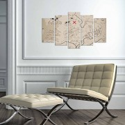 Tablou decorativ multicanvas Charm, 5 Piese, Harta Lumii, 223CHR3945, Multicolor