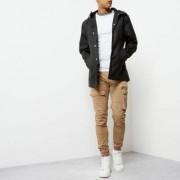 River Island Mens Black hooded jacket