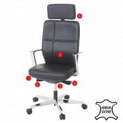 Bürostuhl MERRYFAIR Luton, Schreibtischstuhl, Sliding-Funktion Leder ISO9001 130kg belastbar ~ Variantenangebot
