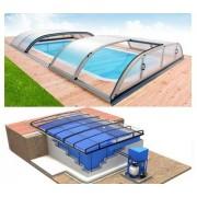 Pool-Komplettset Albixon G2 Quattro Dallas Due mit Überdachung, Schwimmbecken und Technikschacht 4,00 x 8,00 x 1,20 / 1,50m