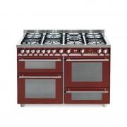 Lofra Pr126smfe+mf/2ci Rosso Burgundy 120x60 Cucina Con Piano In Acciaio Satinato - 7 Fuochi A Gas Di Cui 1 Tripla Corona E 1 D