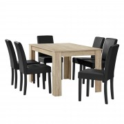 PremiumXL - [en.casa] Elegantan blagovaonski set - stol(hrast/svijetlo smeđa) + 6 stolica (crna)