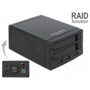 DeLock External Enclosure for 2x2,5″ SATA HDD / SSD with RAID + 3 Port USB 3.0 Hub 42606