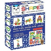Ratna's Play Panda Fun With Shapes Type 2 (58 Colorful Magnetic Shapes)(164 Designs + Magnetic Board + Wooden Stand Included )
