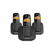 Telefone s/ fio Dect 6.0 c/ identificador de chamadas + 2 ramais preto TS3113 Intelbras