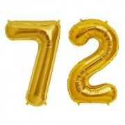 De-Ultimate Solid Golden Color 2 Digit Number (72) 3d Foil Balloon for Birthday Celebration Anniversary Parties