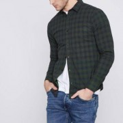 Only and Sons - Donkergroen geruit slim-fit overhemd Heren