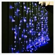 Perdea Luminoasa Craciun Ext.6x3m 400LED Albastra Fir Incolor 6021