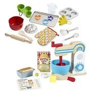 Bundle Includes 2 Items - Melissa & Doug Wooden Make-a-Cake Mixer Set (11 pcs) - Play Food and Kitchen Accessories and Melissa & Doug Baking Play Set (20 pcs) - Play Kitchen Accessories
