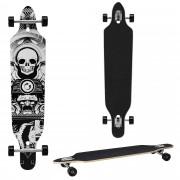 [pro.tec]® Monopatín Longboard para el cruising en la ciudad y el parque - 104x23x9,5cm - Skateboard (negro, blanco con calavera)