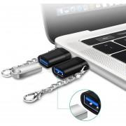USB 3.0 Usb-c / C * Hembra A Macho ABS + Aluminio Aleacion OTG Adaptador Convertidor Con Llavero, Para Samsung Galaxy S8 S8 + / LG G6 / Huawei P10 Y P10 Plus / Xiaomi Mi 6 Y Max 2 Y Otros Smartphones