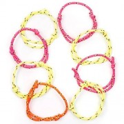 Baker Ross Neon Cord Friendship Bracelets - 12 Unisex Friendship Wristbands In 4 Colours. Party Bag Fillers. Fully Adjustable.