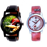 Best Cricket Design And Red Peacock Couple Casual SCK Analogue Watch By Google Hub