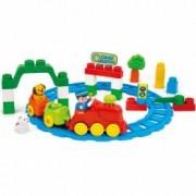 Set cuburi constructii moi parfumate pentru copii Clemmy - Trenul in gara