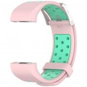 Para Fitbit Charge2 Strap Charge2 Correa de silicona de dos tonos con correa Fitbit