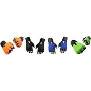 CP Bigbasket Pack of Four (4) Netted with Wrist Support Gym Fitness Gloves (Free Size) Orange-black-blue-green