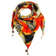 Shelly trojúhelníkový šátek s potiskem oranžová