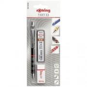 Set Rotring Tikky format din creion mecanic Tikky III Original, 0.5 mm + set mine 0.5 mm HB + radiera