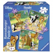 PUZZLE BAMBI 3 BUC IN CUTIE 25 36 49 PIESE