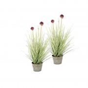 Shoppartners 2x Groene Allium/sierui kunstplanten 53 cm in grijze zinken