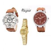 Mark Regal 2 Leather Strap Men's+1 Golden Metel Women's Watches Combo Of 3