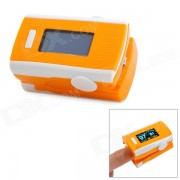 """1.2 """"LCD Digital Clip-On Finger Pulse Oxigeno / Blood Oximetro w / Alarm - Naranja + Blanco (2 x AAA)"""