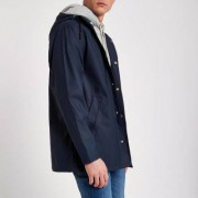 River Island Mens Navy water resistant hooded jacket