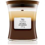 Woodwick Trilogy Café Sweets lumânare parfumată cu fitil din lemn 275 g