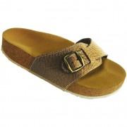 Pegres korkové pantofle kožené s jedním páskem pískové - velikost 23 - 28