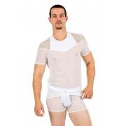 Lookme Reckless Fishnet & Sheer Combination Short Sleeved T Shirt White 52-81