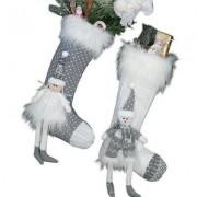 geschenkidee.ch Befüllbare Strickstiefel White Christmas 2er Set