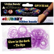 Undee Bandz Rubbzy 100 WHITE & PURPLE GLOW-in-the-DARK Tie-Dye Rubber Bands with Clips