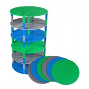"Strictly Briks Classic Stackable 12"" Circle Baseplate Brik Tower by Building Brick Set 