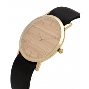 Analog Watch Classic Silverheart Wood Dial & Black Strap Watch GB-CS