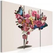 Tableau Papillons, fleurs et carnaval