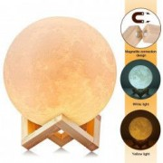 Moon Lamp 3D -Lampa Luna 15 CM LED Portabila Stand Lemn Cutie de Cadou Alb Cald si Rece Intensitate Reglabila Reincarcabila