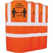 Merkloos 3x Oranje Corona veiligheidsvesten 1,5 meter afstand werkkleding voor volwassenen