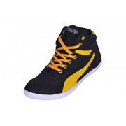 Sukun Black & Yellow Casual Shoes