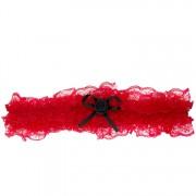 Kousenband rood met zwart roosje