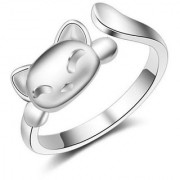 Stylish Korean Cat Adjustable Silver Ring