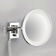 POINT - illuminated cosmetic wall mirror, chrome