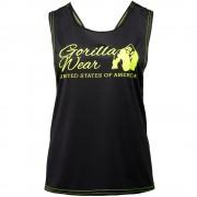 Gorilla Wear Odessa Cross Back Tank Top - Black/Neon Lime - XS