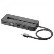 Докинг станция HP Mini Dock, USB-C(м), 1x USB 3.1, HDMI, VGA, RJ45, черна, 1PM64AA