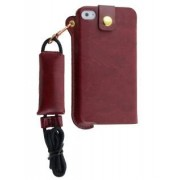 Ultra Slim Synthetic Leather Pouch with Strap for iPhone 4/4S - Apple Leather Slide-in Case (Chestnut)
