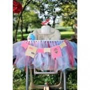 ELECTROPRIME® Pink Beige Fabric Burlap High Chair Bunting Garland Kid Birthday Room Decor