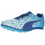 PUMA Men's Evospeed Star 5 Soccer Shoe, Puma White/Blue Danube/True Blue, 8 M US